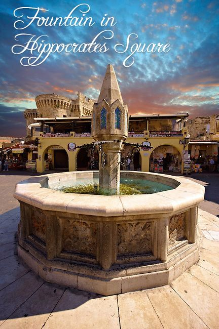 Fountain in Hippocrates Square, Rhodes, Greece. UNESCO World Heritage Site! #unesco #hippocrates #Greece #Rhodes #Rodos #heritage #histoire #history #archaeology #RodosPalace #hotel #5star #luxurytravel