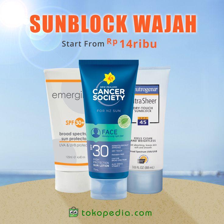 Jangan biarkan kulit wajah dan badanmu belang, Toppers! Dapatkan berbagai merk Sunblock Wajah, mulai dari Rp 14.000,- (harga bervariasi) di http://www.tokopedia.com/p/kecantikan/perawatan-wajah/sunblock