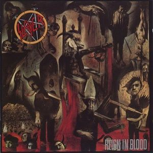 """An image of the album cover featuring a demonic creature being carried on a chair by four people on each side. These people are carrying it over a sea of blood where several heads of corpses are floating. In the top left corner of the album is Slayer's logo while in the bottom right corner is the album title """"Reign in Blood""""."""