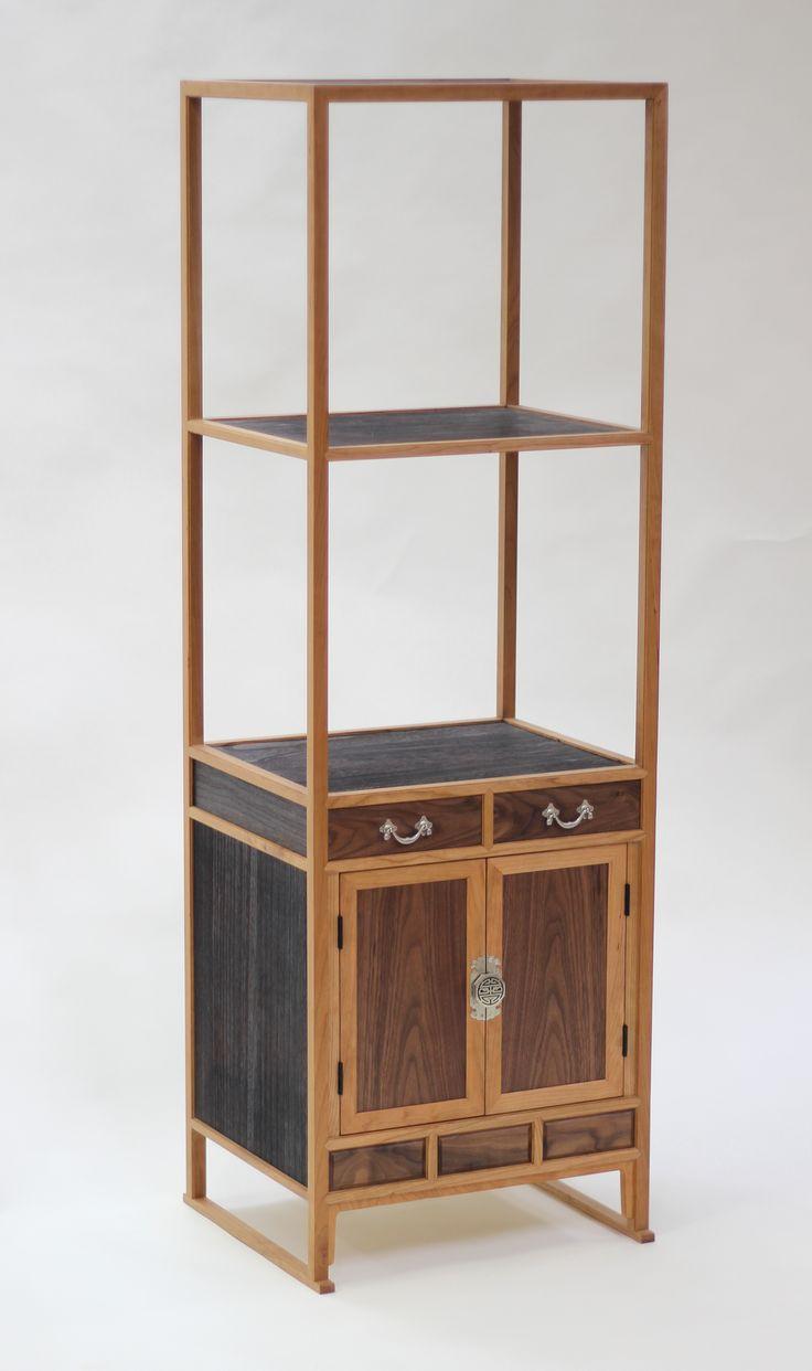 [전통가구]체리 원목 삼층 사방탁자