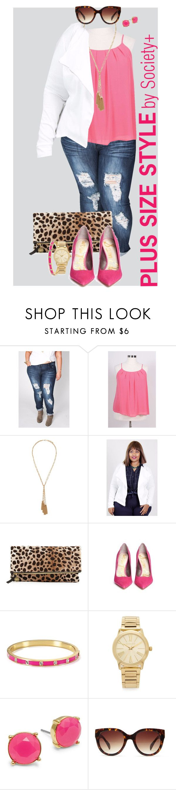"""Plus Size Flowy Top - Society+"" by iamsocietyplus on Polyvore featuring Forever 21, Clare V., Sam Edelman, Kate Spade, Michael Kors, Trina Turk, plussize, plussizefashion, societyplus and iamsocietyplus"