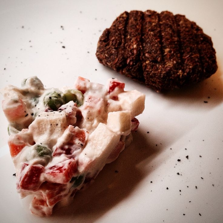 Raw Burger with Russian Salad