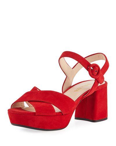 886d52776e1 X43F2 Prada Suede Crisscross Ankle-Wrap 65mm Sandal