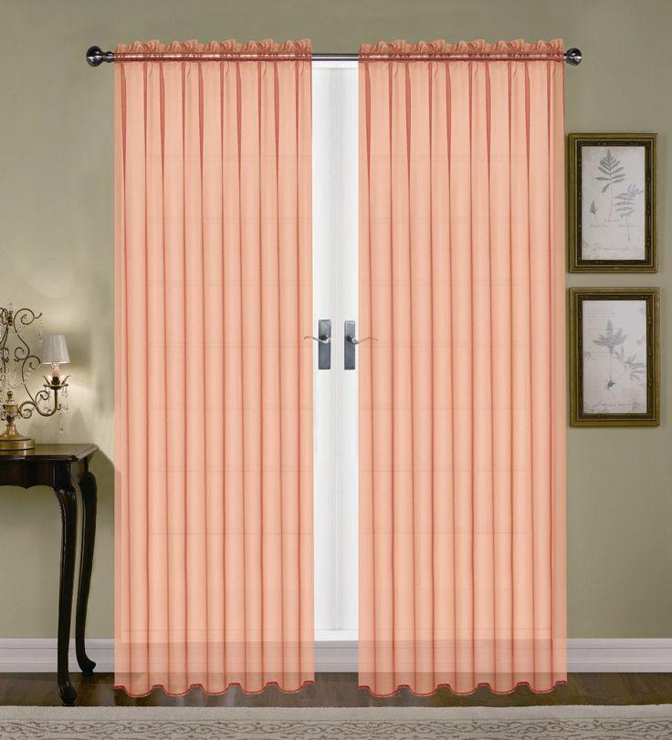 Product Monique Sheer Rod Pocket Curtain Peach