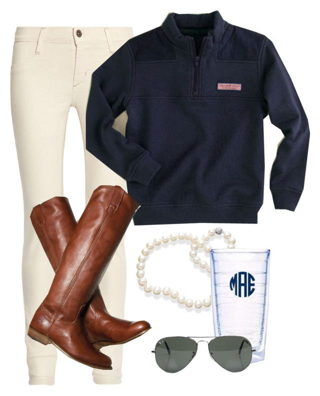 OOTD by classically-preppy on Polyvore featuring polyvore, fashion, style, James Jeans, Ray-Ban, Vineyard Vines, Frye, Tervis, riding boots, preppy, likeforlike, vineyard vines, pearls, cute and l4l
