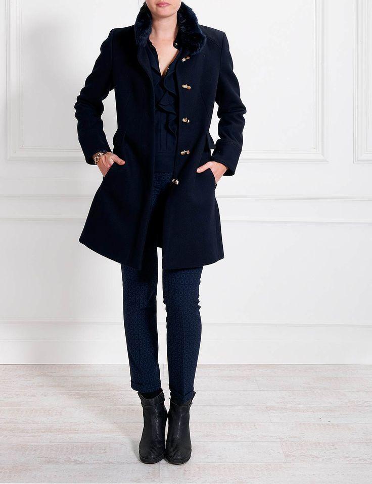 Long coat with fur mockneck - River Woods