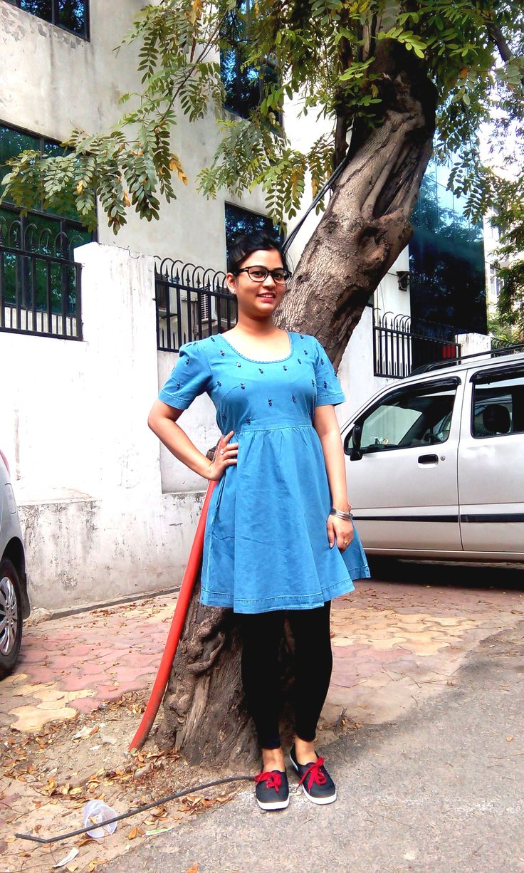 The denim dress from Koovs and the casual shoes