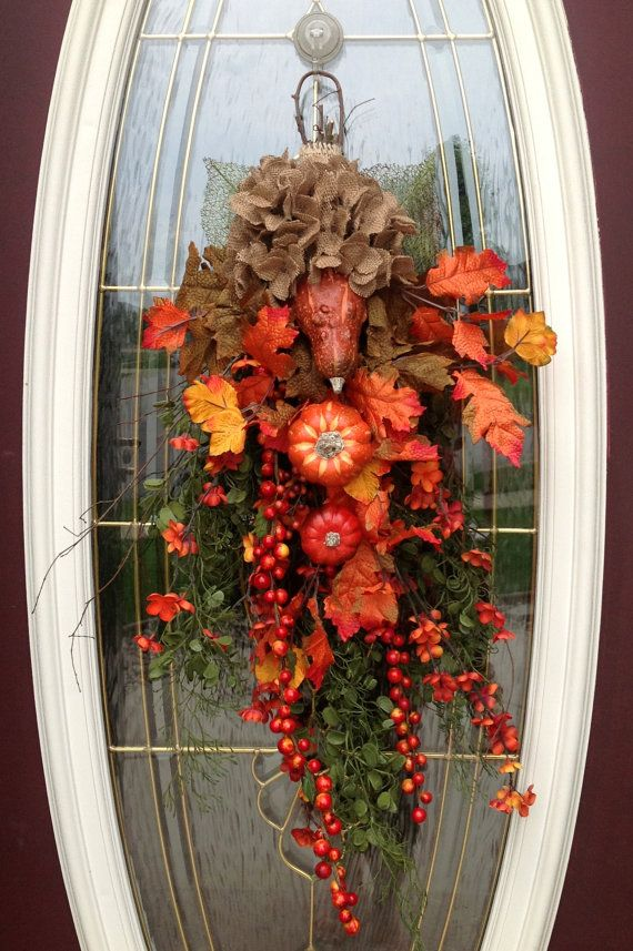 Fall Wreath Autumn Wreath Teardrop Vertical Door Swag ...