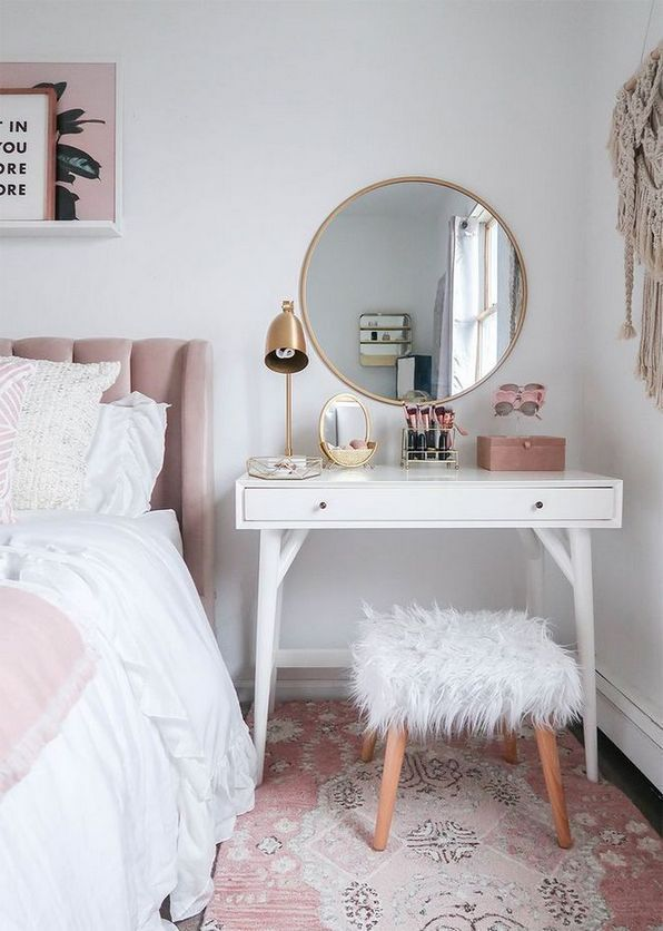 38 The Basic Facts Of White Desk Bedroom Small Spaces Beterhome In 2020 Small Bedroom Vanity Room Decor Room Inspiration