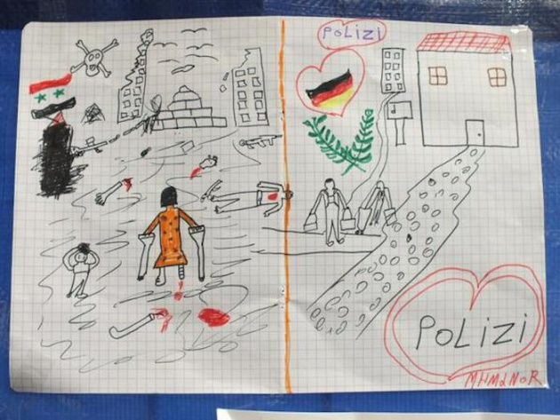 El dibujo de un niño sirio que ha dejado sin palabras a la policía alemana | Verne EL PAÍS