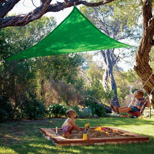 """Coolaroo Triangle Shade Sail 434489 Kool Colors Party Shade Sail - 9' 10"""" Green Color. Coolaroo shade sail provides a relaxing, shading retreat for your family. Coolaroo shade sail constructed by a unique knit fabric that is mold and mildew resistant."""