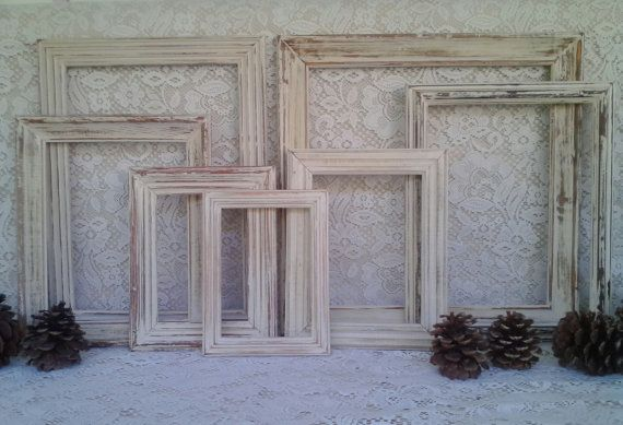 Etsy - $60 (no glass or backers) Rustic Chic Wooden Photo Frame Set ~ Distressed Creamy Beige Picture Frames ~ Shabby Cottage Wall Decor ~  Picture Gallery ~ Country Frames