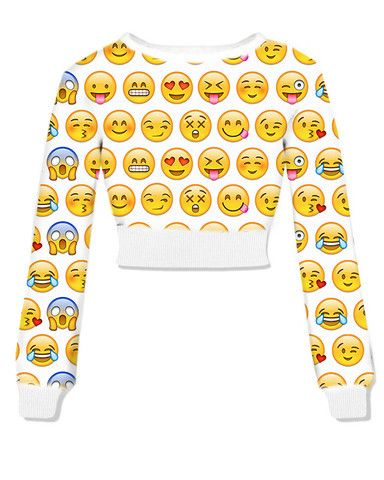 Pre Order Emoji Cropped Crew neck - Fresh-tops.com ITS AMAZING!!
