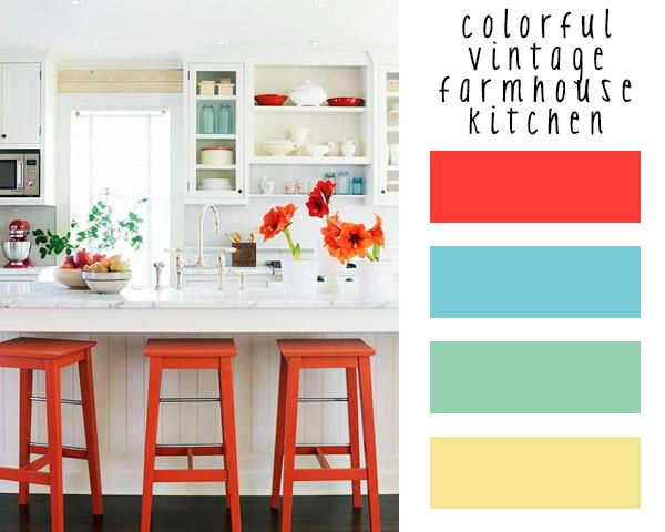 Room of the week: colorful vintage farmhouse kitchen | Burritos and Bubbly