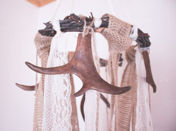 Woodland mobile Rustic wedding decor Real Antler by Tundrada