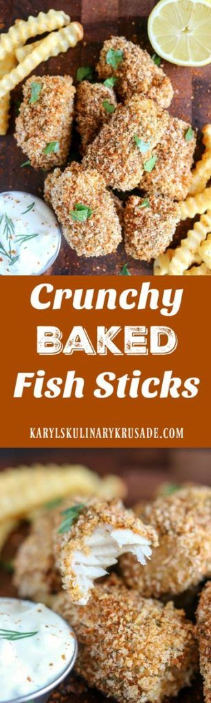 Crunchy Baked Fish Sticks. These aren't the fish sticks you ate as a kid! Healthy, baked, light and super crunchy, these will definitely be a family favorite #fish #fishfriday #seafood #cod #pescatarian #baked #healthy #crunchybakedfishsticks #fingerfood #karylskulinarykrusade