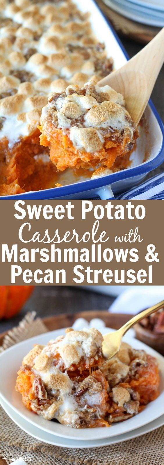 Sweet Potato Casserole with Marshmallows and Pecan Streusel - Mashed sweet potato casserole topped with toasted marshmallows and a brown sugar cinnamon pecan streusel. The perfect side dish for Thanks (Holiday Sweet Recipes)