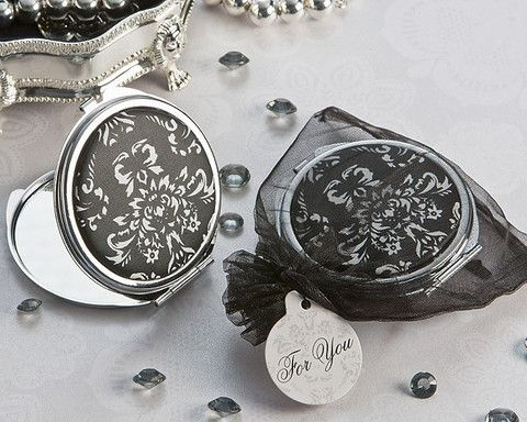 """""""Diva in Damask"""" Black and White Compact Mirror Favor - LoveStruck Weddings"""