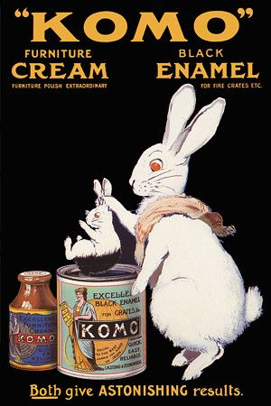 Komo Furniture Cream and Black Enamel Antique Rabbit Vintage Posters Art Prints