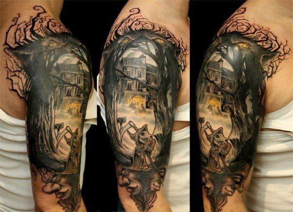 idée de tatouage bras et épaule homme: maison hantée
