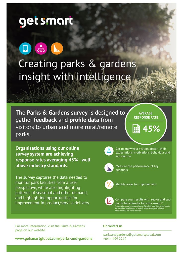 The Parks & Gardens survey is designed to gather feedback and profile data from visitors to urban and more rural/remote parks.
