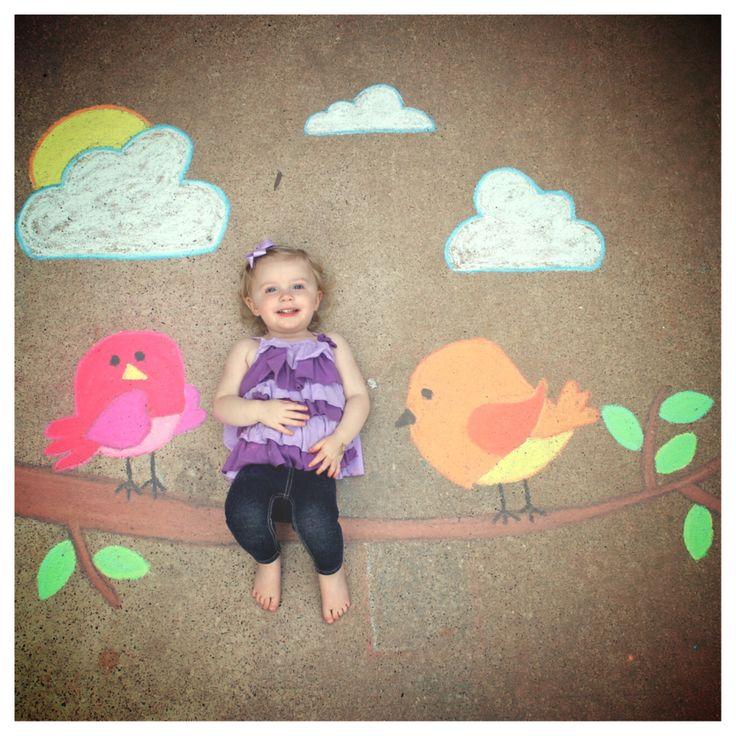Pretty Bird sidewalk chalk art
