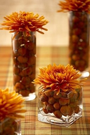 Love this simple Fall Decoration! Fill glass vases with acorns and water and add a fresh cut flower on top. #DIY #Thanksgivingdecor