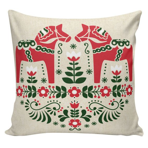 Holiday Pillow Cover Swedish Scandinavian Christmas Sampler Dala Horse French Style Burlap Cotton Throw Pillow #CH-176