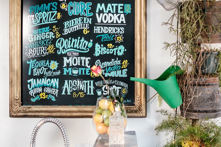 A detail of the beautiful new handlettered drink menu by La Flèche and DIY hanging plants. La Petite Reine Geneva.