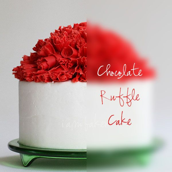 Christmas Inspired Cake covered in mounds of Red Chocolate Ruffles from IamBaker