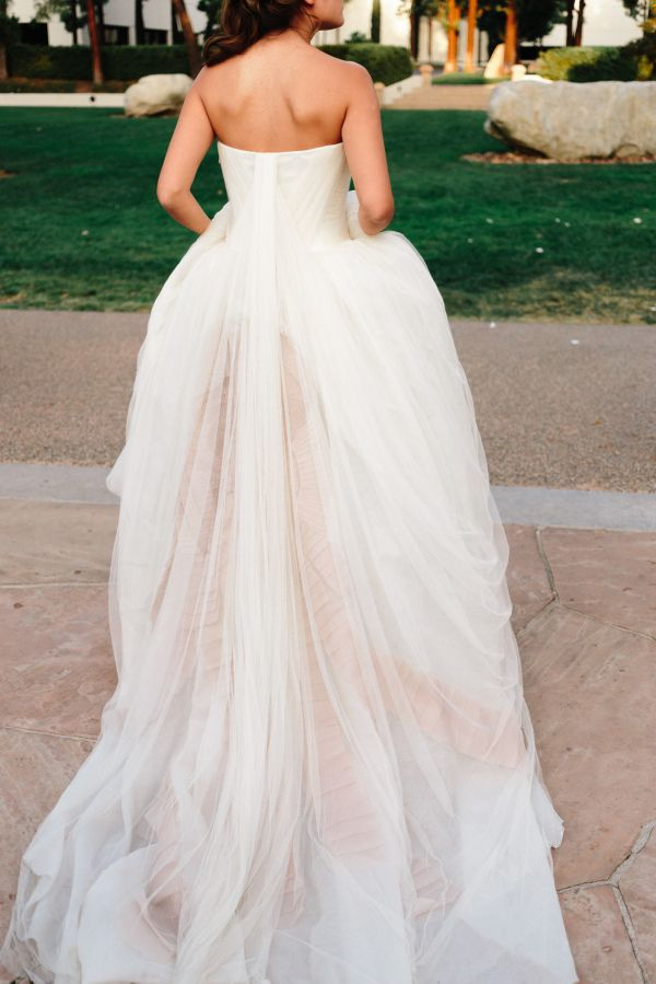 A hint of pink: http://www.stylemepretty.com/2015/08/25/our-favorite-brides-who-rocked-vera-wang/
