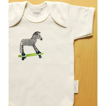Gifts :: Organic onesie, zebra on skateboard