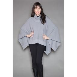 """""""Angie"""" Cape (wear two ways), Lt Grey Mix: One size, wool and bamboo, so warm and easy to wear."""