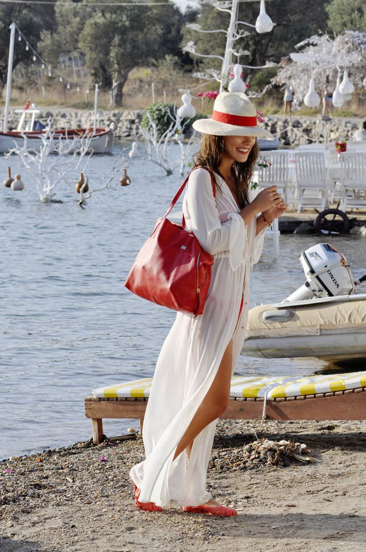 beach wear - long white cotton dress and straw hat