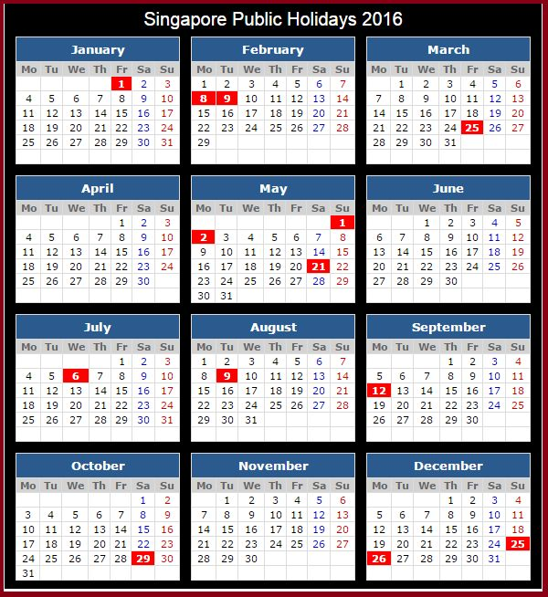 2016 Singapore Holidays & Calendar 2016 Calendar with Holidays Word