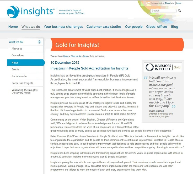 Insights achieves IIP Gold in UK and USA