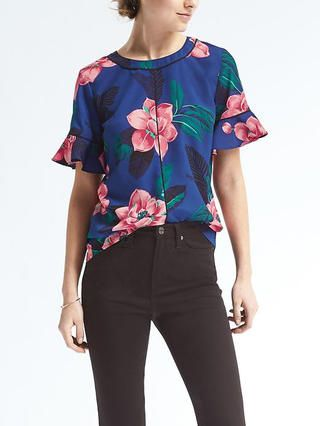Easy Care Flutter Sleeve Top