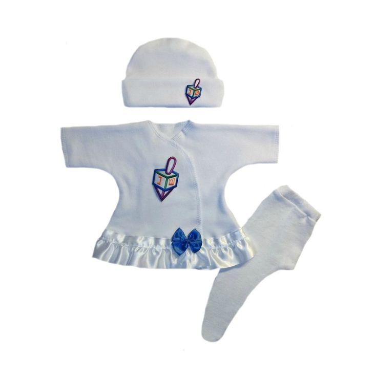 Baby Girls' Darling Dreidel Hanukkah Dress Set Perfect for Baby's First Chanukah! Very sweet baby girl dress sized for small infants! 100% soft cotton knit. Long sleeve white baby girl dress. Lined wi
