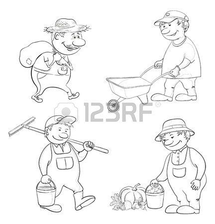 Cartoon Tuinders Werk Draagt een Zak, Draagt lege Trolley, Draagt een Emmer En Een Hark, Met De Oogst Van Groenten Black Contour Royalty Vrije Cliparts, Vectoren, En Stock Illustratie. Image 14351095.