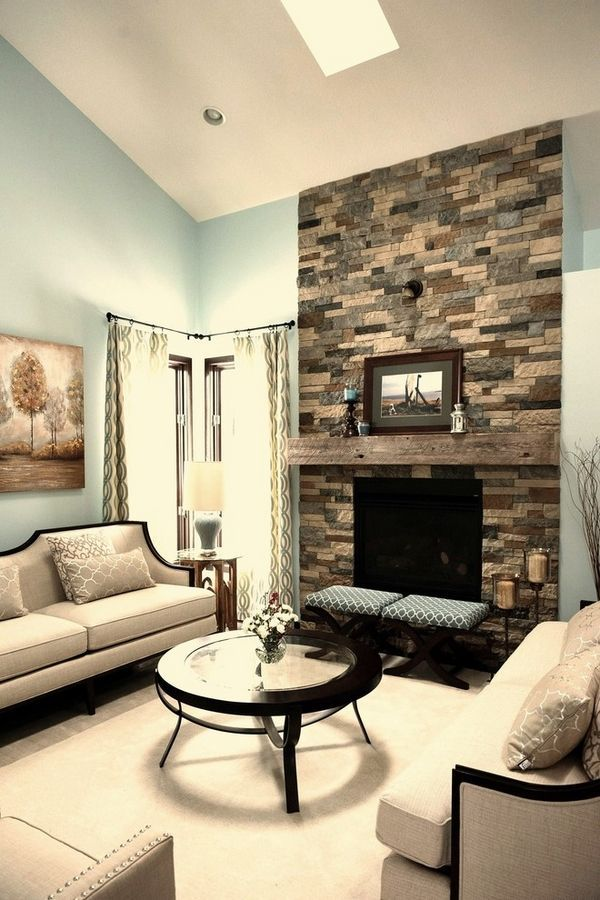 stylish living room stone fireplace airstone surround