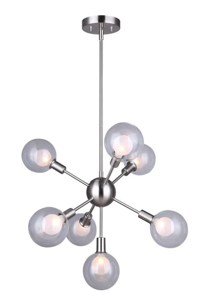 Healey 7 Light Rod Pendant Light Fixture In Brushed Nickel With Double Glass Multi Light Pendant Modern Pendant Light Brushed Nickel Pendant Lights