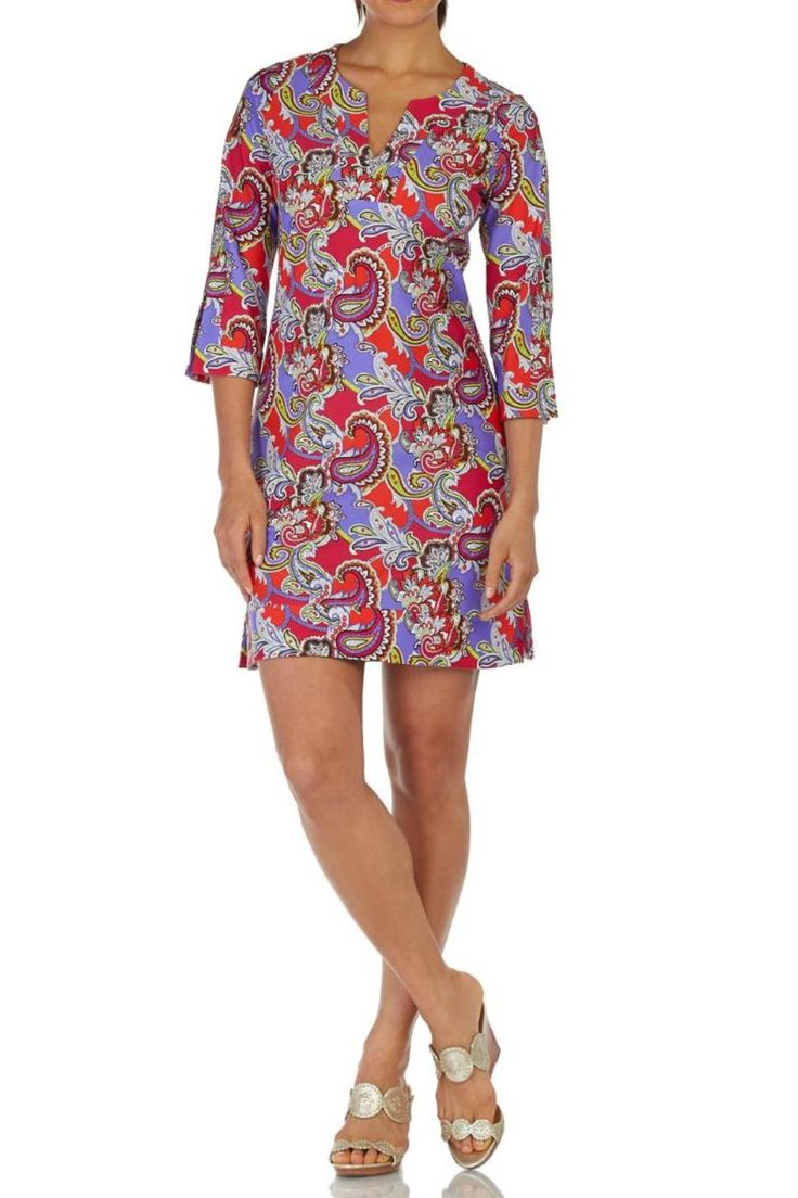 Our tunic dress is flattering on all body types. Venting on the sleeves and hemline add a perfect amount of flair to this ageless classic. V-neckline. 3/4 sleeve. Venting on hemline and sleeve.    Megan Paisley Rose by Jude Connally. Clothing - Dresses - Mini Clothing - Dresses - Casual New Jersey