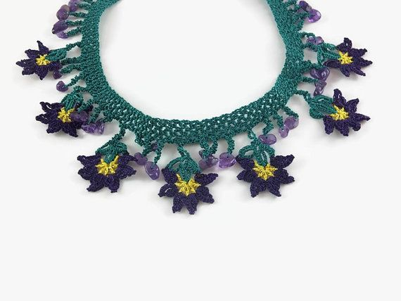 Crochet Flower Necklace  Green And Purple Oya Lace by Nakkashe