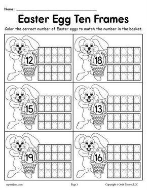 Free Printable Easter Egg Ten Frame Worksheets Numbers 1 20 Work