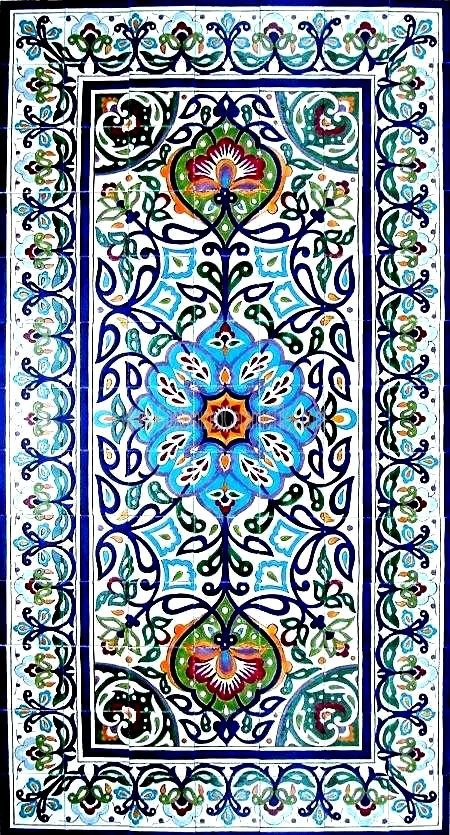 DECORATIVE PERSIAN TILES: Persian design large mosaic panel hand painted wall mural kitchen bath backsplash pool patio art tile  78in x 42in...