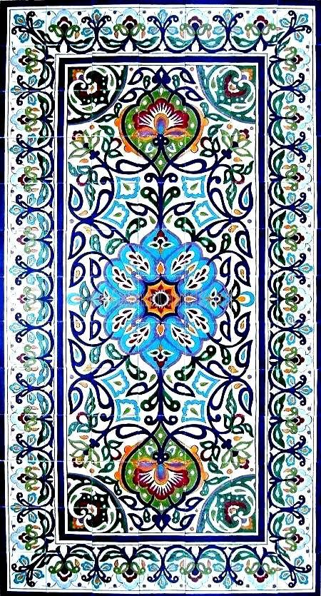 DECORATIVE PERSIAN TILES: Persian design large mosaic panel hand painted wall mural kitchen bath backsplash pool patio art tile 78in x 42in...