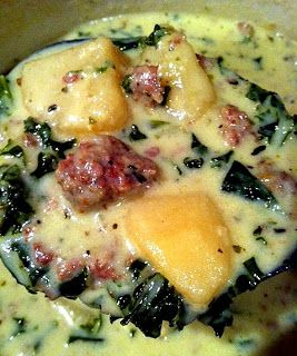 "Zuppa Toscana, in the crock pot! 1 t olive oil; 1 lb. grd sausage; 1 lg onion,diced; 1 T minced garlic; 1 t oregano; 1 t basil;1 T Italian seasoning; 1 t granulated garlic; pinch of red pepper flakes (to taste) 1/2 t pepper; 4 c chicken stock; 6 med potatoes, cut into 1"" chunks; 1/2 bunch kale, chopped; 1 cup cream; scant cup of instant potato flakes (optional)."