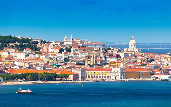 Download wallpapers Lisbon, Portugal, 4?, capital, ????, Western Europe, old city, summer