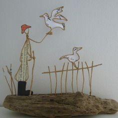 Le marin et le goéland - figurines en ficelle et papier