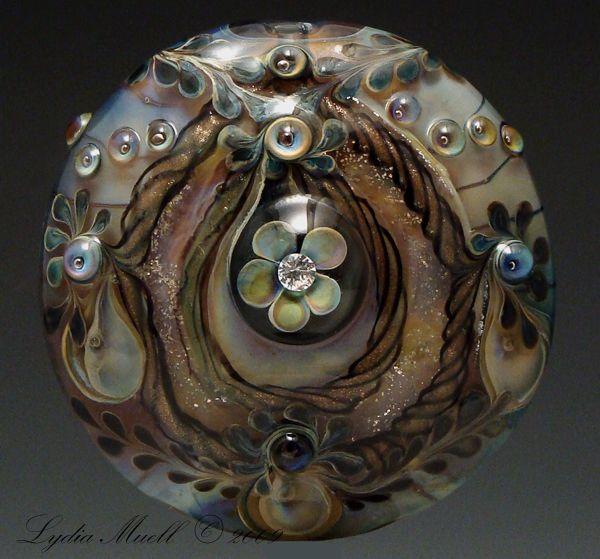 ballroom dancing lampwork focal bead by lynda muell